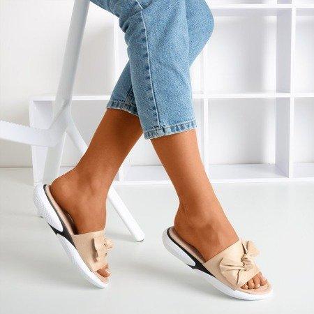 Beige flip-flops with a bow Semuala - Footwear 1