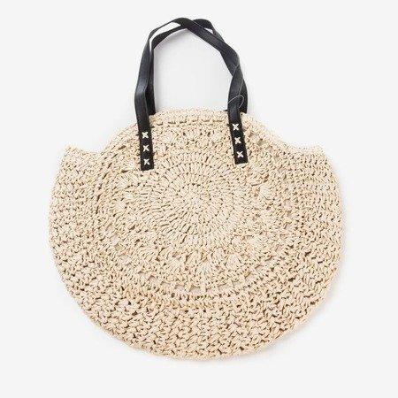 Beige round straw women's shoulder bag - Handbags 1