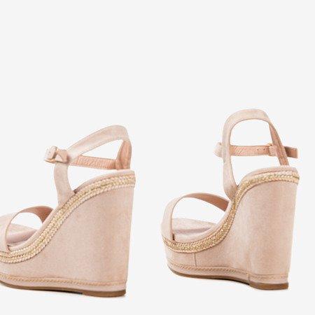 Beige sandals on a Demetera wedge heel - Footwear 1