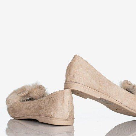 Beige women's ballerinas with fur and ears Darya - Footwear