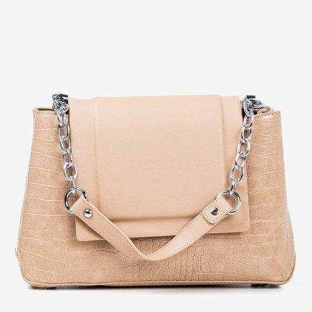 Beige women's handbag with animal embossing - Handbags
