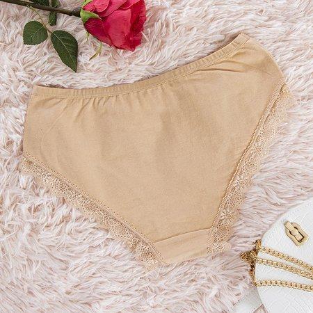 Beige women's panties with lace PLUS SIZE - Underwear