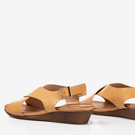 Beige women's sandals on a low wedge Jaliga - Footwear
