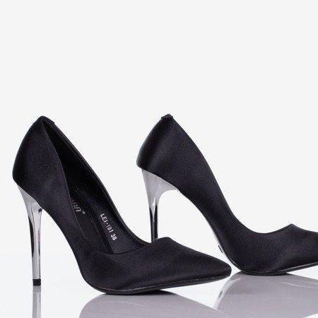 Black Gold Star satin women's stilettos - Footwear 1