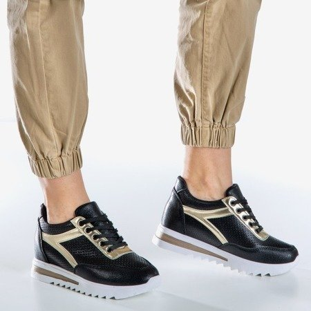 Black and gold women's sneakers on an indoor wedge Wink Wink - Footwear 1