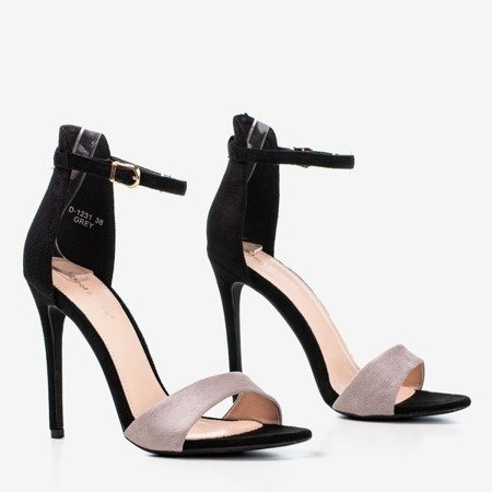 Black and gray women's sandals on a high heel Gold Rush - Footwear 1