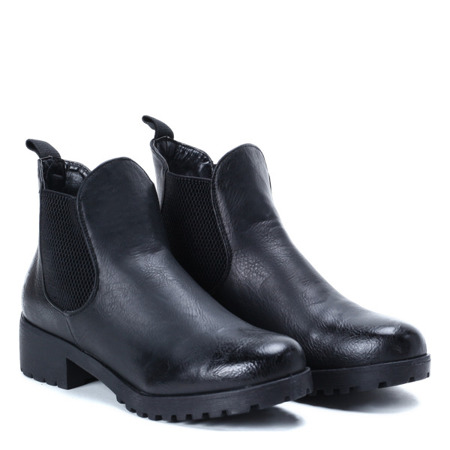 Black ankle boots with elastic cholewką Winona - Footwear