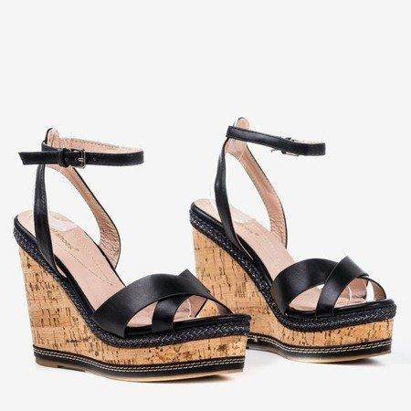 Black high wedge sandals Erika- Footwear