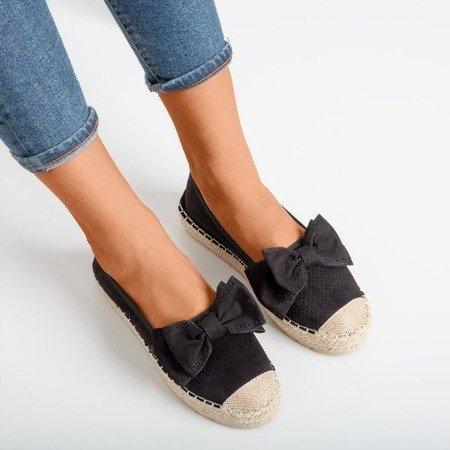 Black openwork espadrilles on a platform with a bow Mimilla - Footwear 1
