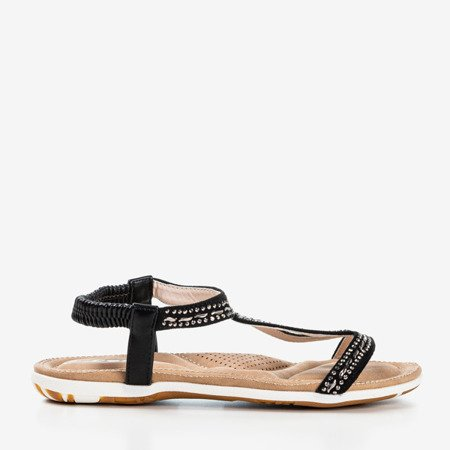 Black sandals decorated with Sesilia cubic zirconia - Footwear 1