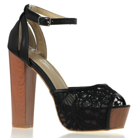Black sandals on a high platform - Footwear 1