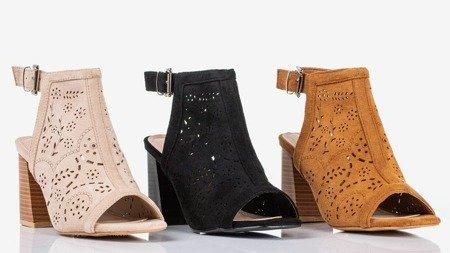 Black sandals on a taller post Meamoss - Footwear