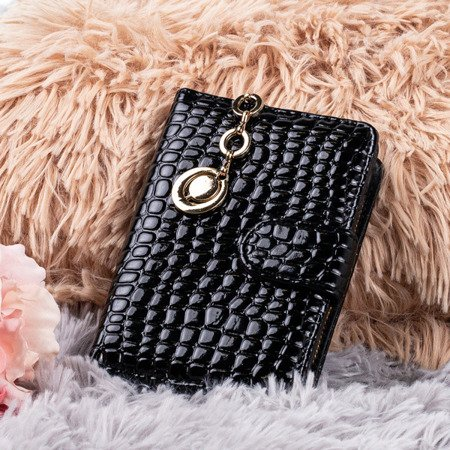 Black small women's wallet with animal embossing - Wallet 1