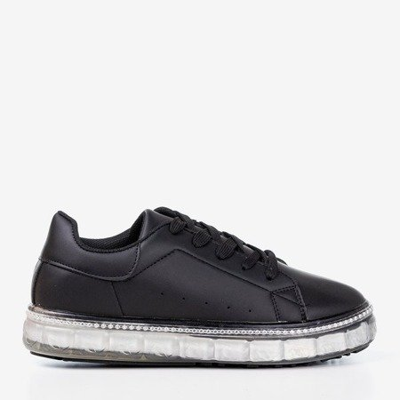 Black sneakers on a platform with cubic zirconia Mauria - Footwear