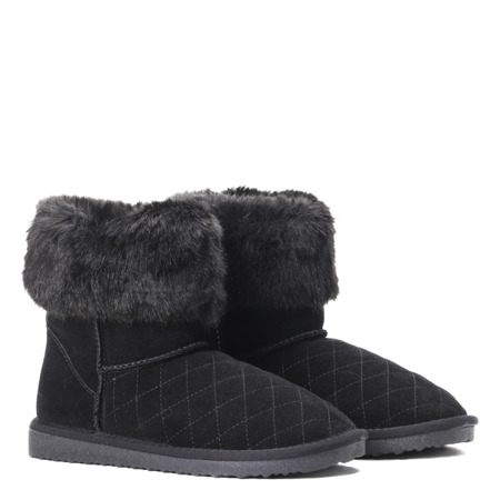 Black snow boots with fur Mani - Footwear