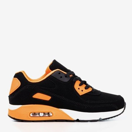 Black sports shoes with Mola neon orange inserts - Footwear 1