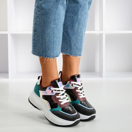 Black sports sneakers with colorful Lingi inserts - Footwear 1