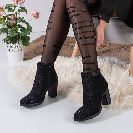 Black women's ankle boots with decorations Valor - Footwear