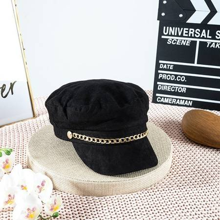 Black women's beret with a visor - Caps