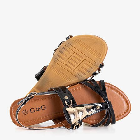 Black women's sandals with Manana ornaments - Footwear
