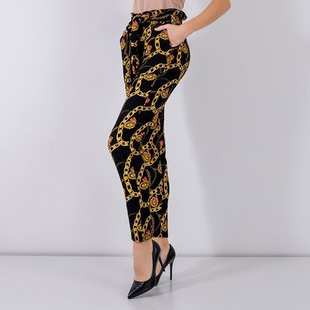 Black women's trousers with print - Clothing
