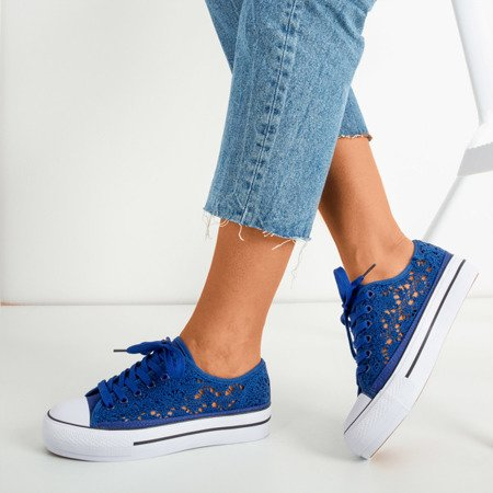 Blue lace sneakers on a thick Satilla platform - Footwear