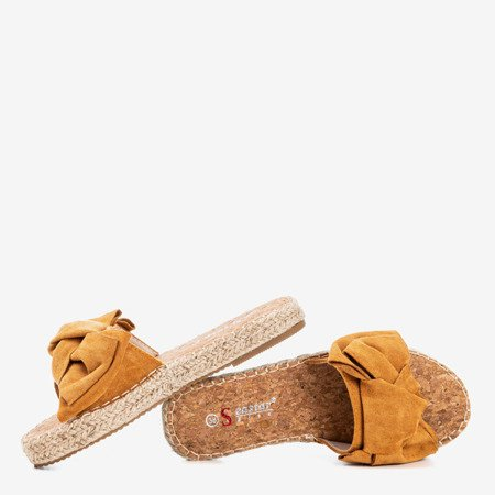 Brown flip-flops with a bow Playa - Footwear 1