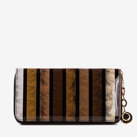 Brown lacquered women's wallet with print - Wallet