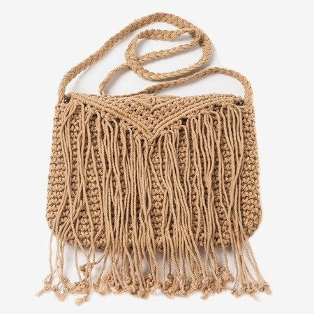 Brown ladies handbag with braided string over the shoulder - Handbags 1