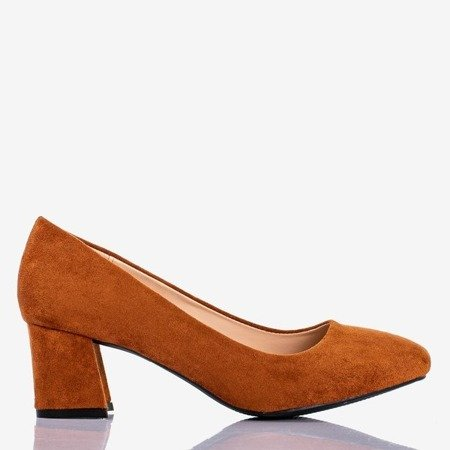Brown women's pumps on the low post Give Love - Footwear 1