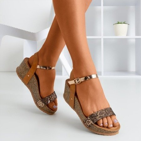 Brown women's sandals on a wedge with an Arifina animal motif - Footwear 1
