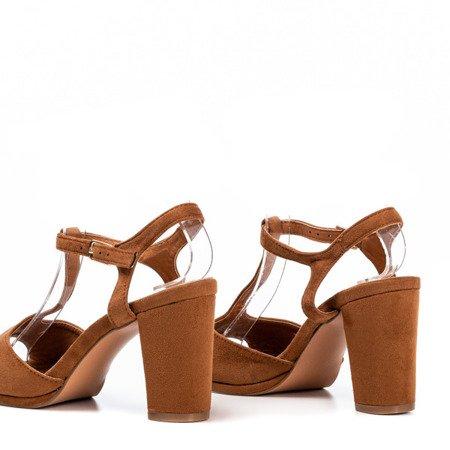 Brown women's sandals on the higher post Morata - Footwear