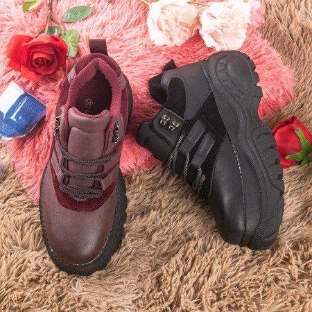 Burgundy women's sports sneakers on a solid Neda sole - Footwear 1