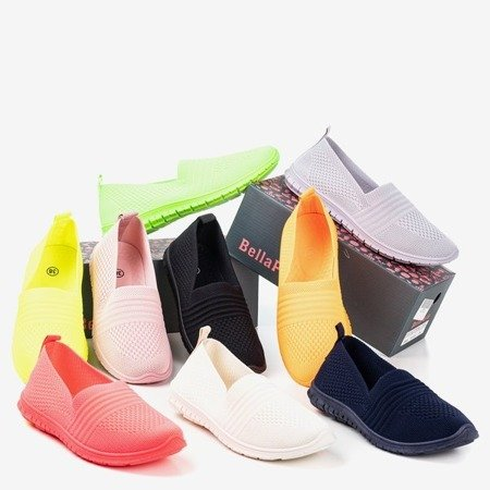 Cream and beige women's slip-on sneakers. Colorful - Footwear.