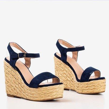 Dark blue sandals on the Idessa wedge - Footwear 1