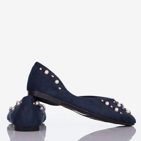 Dark blue women's ballerinas with Emanossa pearls - Footwear 1