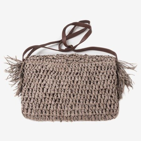 Dark brown straw shoulder bag - Handbags 1