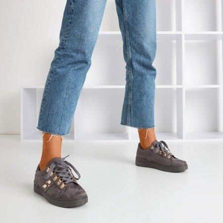 Dark gray sneakers with Jurida pearls - Footwear