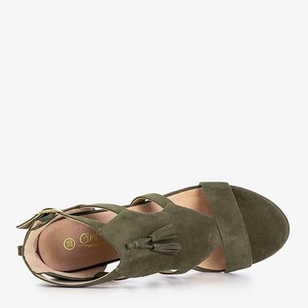 Dark green women's sandals on the Krys post - Footwear