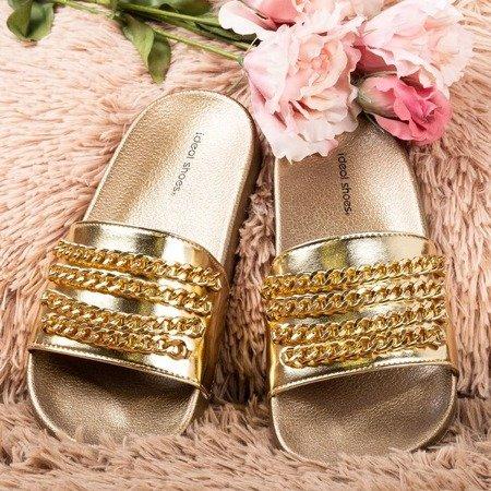 Gold flip-flops with Slivien chain - Footwear 1