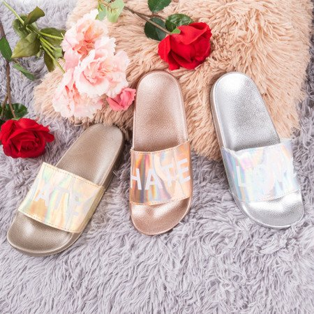 Gold women's slippers with the inscription HATE & LOVE - Footwear 1