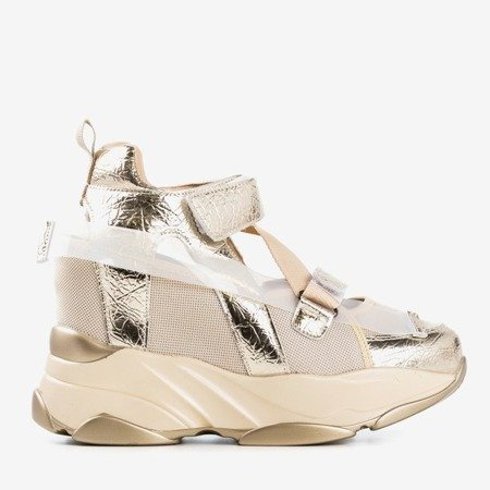 Golden sport sneakers on an indoor wedge with cut-out Karix - Footwear 1