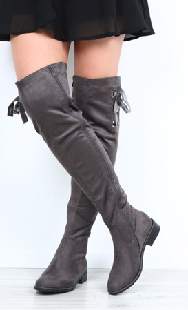 Gray boots made of Perec suede - Footwear