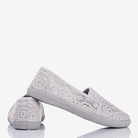 Gray children's ballerinas with lace trim Pacienni - Footwear