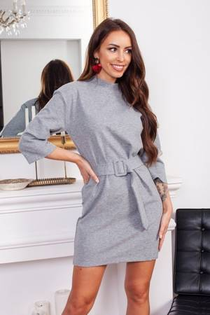 Gray dress with a belt - Clothing