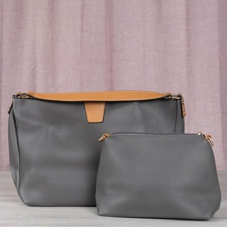Gray large women's bag with a brown finish - Handbags 1