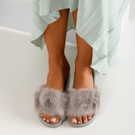 Gray slippers with fur Millie - Footwear