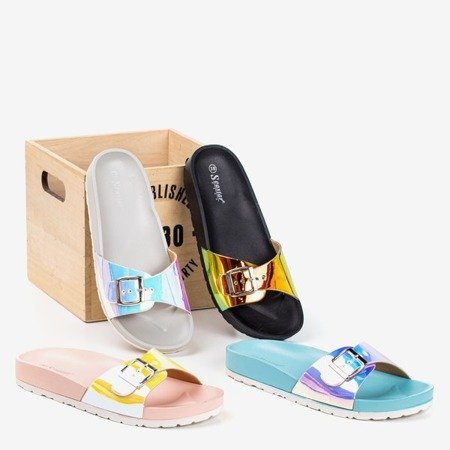 Gray slippers with holographic finish Sabia - Footwear
