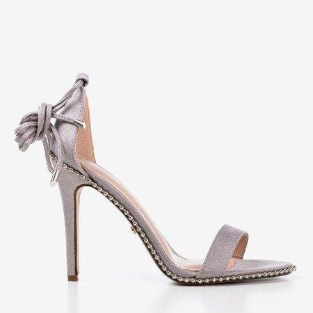Gray tied sandals on a high heel Taya - Footwear