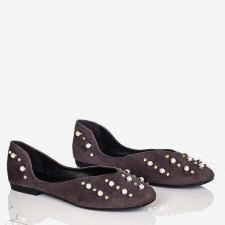 Gray women's ballerinas with Emanossa pearls - Footwear 1